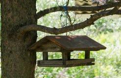 Alimentadores do pássaro com telhado triangular em uma madeira Imagens de Stock