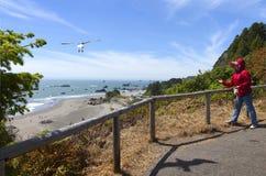 Alimentando as gaivotas, OU., litoral. Fotos de Stock