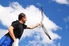 Alimentando uma gaivota Fotografia de Stock