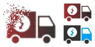 Alimentation d'énergie tramée de disparition de pixel Van Icon illustration de vecteur