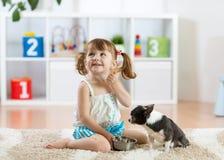 Alimentation des enfants mignonne son chien Photographie stock