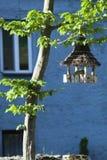 Alimentatore dell'uccello al crepuscolo fotografia stock