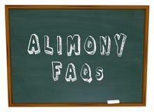 Alimente-FAQ baten häufig um Rechtsfrage-Tafel Stockbilder