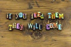Alimente la tipografía de la amabilidad de la ayuda del foco de la fe fotos de archivo