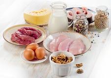 Alimenti alti in proteina Fotografie Stock Libere da Diritti