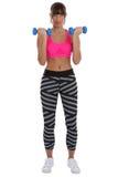Alimenti il forte allenamento del bicipite di sport della donna di forma fisica con le teste di legno Immagine Stock Libera da Diritti