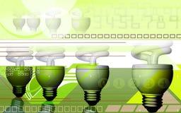 Alimenti il passaggio all'indicatore luminoso di CFL nel backgroun di effetto del raggio illustrazione di stock
