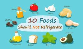 10 alimenti non dovrebbero refrigerare Immagine Stock Libera da Diritti