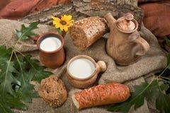 Alimenti organici pane e latte Immagine Stock