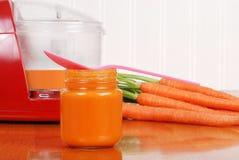 Alimenti per bambini casalinghi della carota con il cucchiaio Fotografie Stock Libere da Diritti