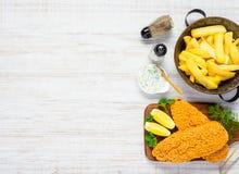 Alimenti a rapida preparazione con le fritture e lo spazio al forno della copia del pesce Immagine Stock