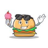 Alimenti a rapida preparazione del carattere dell'hamburger con il gelato illustrazione di stock