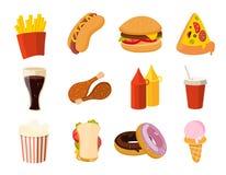 Alimenti a rapida preparazione del fumetto, hamburger, bevanda, taci di pollo, insalata, insieme di vettore dell'hot dog illustrazione vettoriale