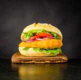 Alimenti a rapida preparazione dell'hamburger del pollo Fotografia Stock