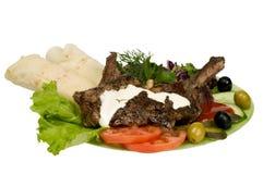 Alimenti a rapida preparazione della carne isolati Fotografie Stock Libere da Diritti