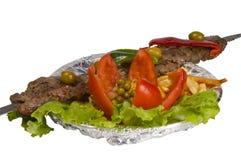 Alimenti a rapida preparazione della carne isolati Fotografia Stock