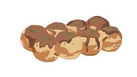 Alimenti a rapida preparazione giapponesi, TakoyakiIllustration immagine stock libera da diritti