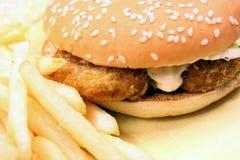Alimenti a rapida preparazione - hamburger e fritture Fotografia Stock