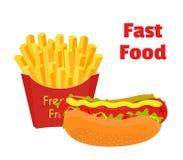 Alimenti a rapida preparazione, hot dog, patate fritte Stile piano del fumetto Vettore Fotografia Stock Libera da Diritti
