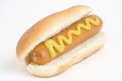 Alimenti a rapida preparazione, hot dog squisito isolato sopra la b bianca Fotografie Stock Libere da Diritti