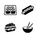Alimenti a rapida preparazione Icone relative semplici di vettore illustrazione di stock