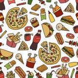 Alimenti a rapida preparazione Modello senza cuciture nello stile del fumetto e di scarabocchio colorful illustrazione di stock
