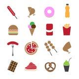 Alimenti a rapida preparazione nelle icone variopinte messe Immagine Stock