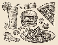 Alimenti a rapida preparazione pizza disegnata a mano, hamburger, fritture, hamburger, pollo arrostito, pepite, succo fresco Illu Fotografia Stock Libera da Diritti