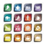Alimento, ícones das frutas e legumes Fotos de Stock