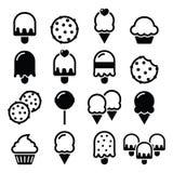 Alimento, ícones das sobremesas - queque, gelado, cookie, pirulito ilustração stock