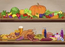 Alimento útil e prejudicial em prateleiras de madeira Ilustração do vetor Imagem de Stock