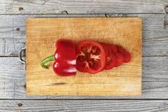 Alimento affettato della preparazione del pepe Immagini Stock