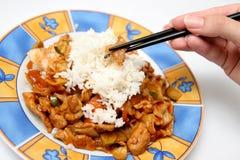 Alimento asiático con los palillos Foto de archivo libre de regalías