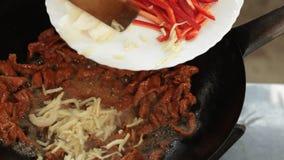 Alimento asiático - cozimento do frigideira chinesa - carne e vegetais vídeos de arquivo