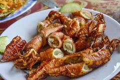 Alimento asiatico, riso fritto con frutti di mare Fotografia Stock Libera da Diritti