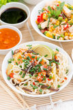 Alimento asiatico - tagliatelle con le verdure ed i verdi, riso fritto Fotografie Stock Libere da Diritti