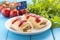 Alimento australiano do rolo de salsicha imagens de stock