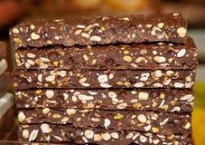 Alimento, barras de chocolate feitos a mão fotografia de stock