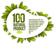 Alimento biológico, crachá do produto natural, um projeto natural de 100 por cento ilustração royalty free