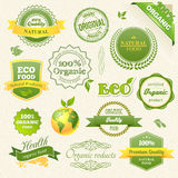 Alimento biológico do vetor, Eco, bio etiquetas e elementos Fotografia de Stock Royalty Free