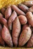 Alimento biológico, exposição fervida dos batatas doces imagens de stock royalty free