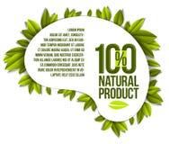 Alimento biológico, insignia del producto natural, diseño natural del 100 por ciento ilustración del vector