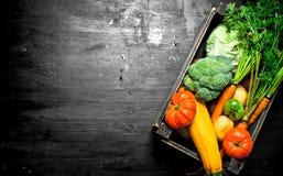 Alimento biológico Verduras frescas en una caja vieja fotos de archivo libres de regalías