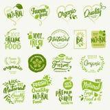 Alimento biologico, autoadesivi del prodotto fresco e naturale dell'azienda agricola e raccolta delle etichette Immagine Stock Libera da Diritti