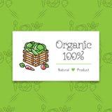 Alimento biologico e coltivare la linea stile di concetto di logo di arte Fotografia Stock