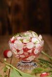 Alimento biologico insalata fresca del ravanello e delle cipolle Fotografia Stock