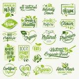 Alimento biologico, segni del prodotto fresco e naturale dell'azienda agricola e raccolta degli elementi royalty illustrazione gratis