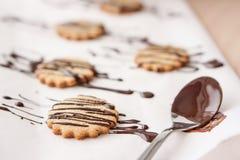 Alimento: Biscotti di farina d'avena coperti di cioccolato casalinghi Immagini Stock