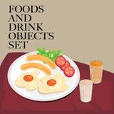 Alimento & café da manhã ajustado da bebida Foto de Stock