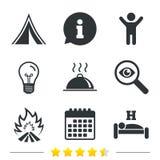 Alimento caldo, sonno, tenda di campeggio e segni del fuoco Immagine Stock Libera da Diritti
